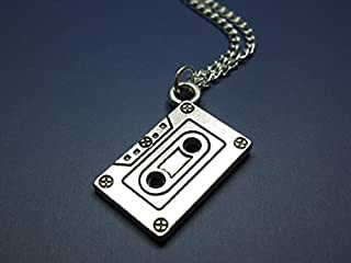 Cassette Necklace - Silver Chain Mix Tape Retro 80s 90s Geeky Nerdy Funky Necklace Quirky Cute Jewelry Punk Geek Nerd Old School