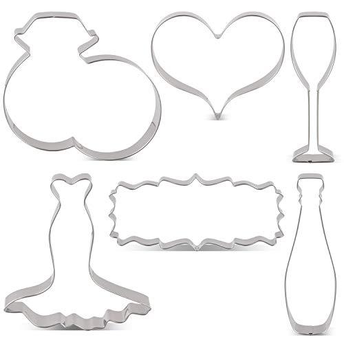 Keniao uitsteekvormen voor bruiloft, koekjesuitsteker, set van 6 stuks, voor trouwringen, hart, bruidsjurk, affiche, champagne en champagneglas uitsteekvormpjes, roestvrij staal