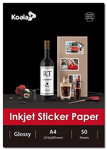 KOALA Inkjet - Carta fotografica lucida autoadesiva/adesiva sul retro, 50 fogli