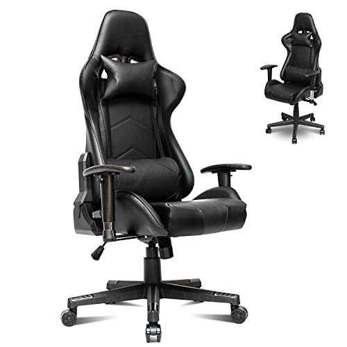 Gaming Chair Office PC Gaming Desk Chair,Ergonomic Office Chair Back and Seat Height Air Rod Adjustment Can Rotate Recliner Chair,E-Sports Office Chair with Headrest,Waist Pillow (Black)