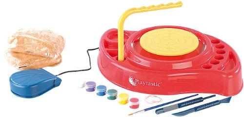 Playtastic Töpferset: Meine erste Töpferscheibe: Komplettset mit Ton & Farben (Töpferset für Zuhause)