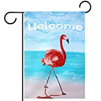 ガーデンヤードフラッグ両面 /28x40in/ ポリエステルウェルカムハウス旗バナー,ようこそ夏のビーチフラミンゴ