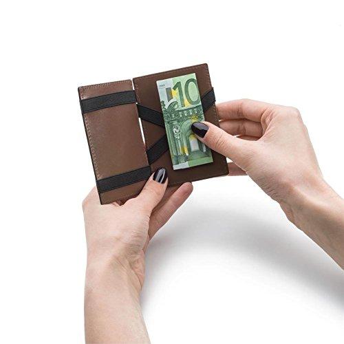 HC Handel Magic Wallet Echtleder Geldbörse/Portemonnaie schwarz/cognacfarben - 3