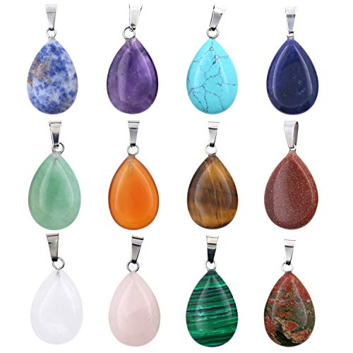 Wholesale 12 PCS Natural Teardrop Quartz Crystal Stone Pendant Water Drop Healing Chakra Reiki Charms Bulk for Jewelry Making(Assorted)…