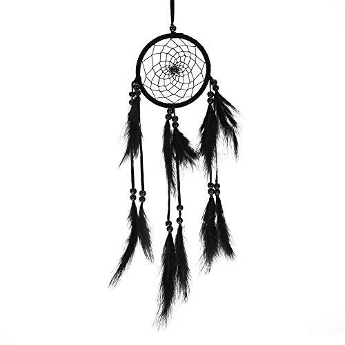 no-branded Atrapasueños colgante colorido/blanco/negro con plumas y perlas para coche, dormitorio infantil decoración de pared (negro)