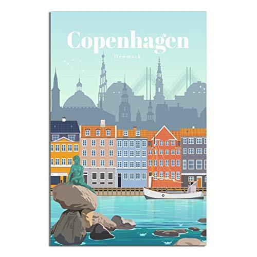 Poster de voyage vintage Copenhague Danemark sur toile - Décoration murale - 30 x 45 cm