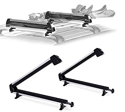 Car Rack & Carrier Ski Car Rack Aluminum Universal Ski Roof Rack Fits 6 Pairs Skis Or 4 Snowboards, Ski Roof Carrier Fit Most Vehicles Equipped Cross Bars