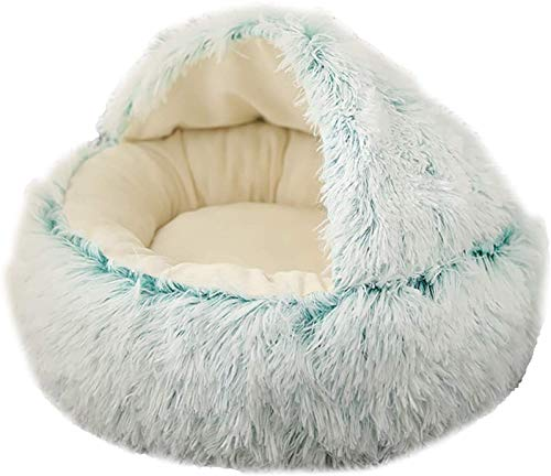 EREW Cama para mascotas, camas para mascotas, nido de gato, mantiene caliente en invierno, diseño semicerrado, terciopelo de cristal, nido para mascot...