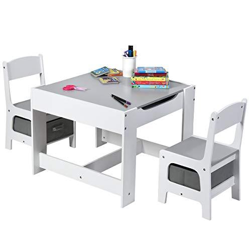 COSTWAY Juego de Mesa y 2 Sillas para Niño Mueble Infantil Escritorio de Madera Silla con Espacio de Almacenamiento para Juguete Dormitorio (Gris y Blanco)