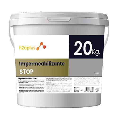 Revestimiento Elástico Impermeabilizante Stop Pintura para Impermeabilizar parámetros horizontales en Terrazas, Azoteas, Balcones y Tejados · Color Gris · 20KG (16,6 L)