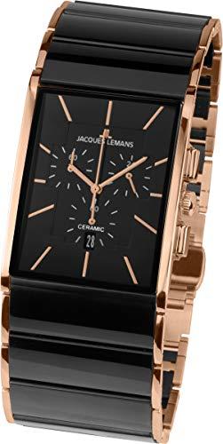 JACQUES LEMANS Herren Analog Quarz Uhr mit Edelstahl Armband 1-1941B