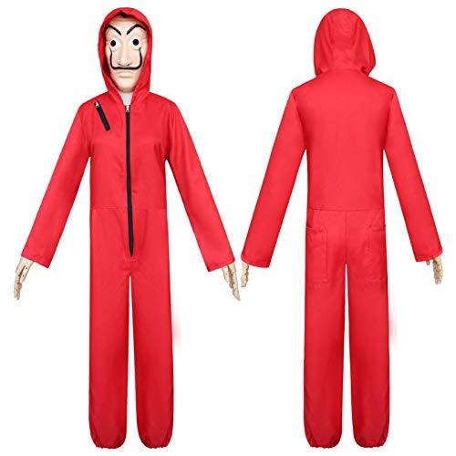 ZHANGXX Papier Huis Kostuum Dali Masker Rood Kostuum Voor Dali Geld Heist Het Papieren Huis La Casa De Papel Kostuum Hoodie Jumpsuit Met Masker
