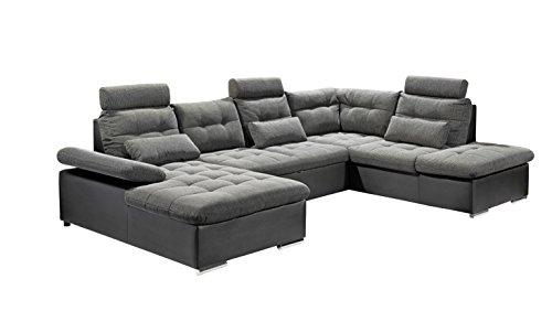 Stella Trading Jakarta U Sofa 3-Teilige Ecke Ecksofa, Lederimitat, schwarz/grau, 170 x 324 x 107 cm