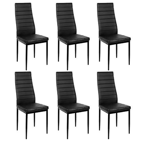 Juego de 6 sillas de comedor de estilo nórdico, modernas y duraderas, de piel sintética, de la mitad de la PU, sillas de comedor, sencillas para el hogar, muebles de bar