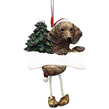 Dachshund Ornament Red with Unique  Dangling Legs  Hand Painted and Easily Personalized Christmas Ornament