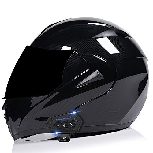 Motorcycle Flip Up Helmet Bluetooth Integrated Motorcycle Modular Full FaceHelmet Motorbike Crash Helmet with Double Visor DOT/ECE Approved Full Face Helmet for Men Women M,M=57~58cm