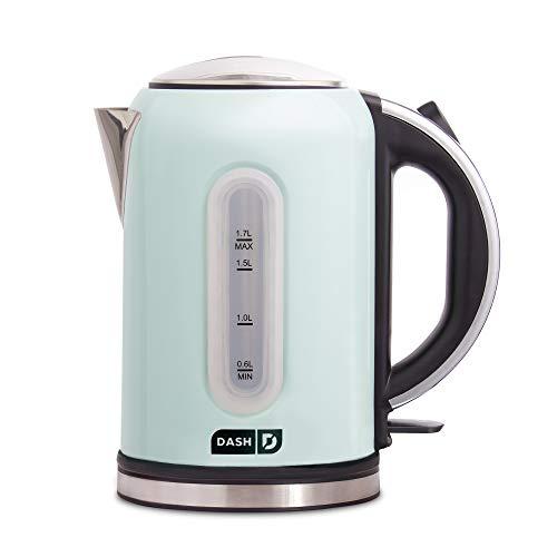 DASH DEK001AQ Electric Kettle + Water Heater with Rapid Boil, Cool Touch Handle, Cordless Carafe, No Drip Spout + Auto Shut Off For Coffee, Tea, Espresso & More, 57 oz  1.7 L - Aqua