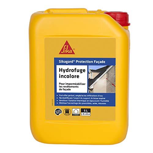 Sikagard Protection Façade, Hydrofuge imperméabilisant, invisible, effet perlant, anti-tâche pour façade et mur, multi-supports, prêt à l'emploi, 5L