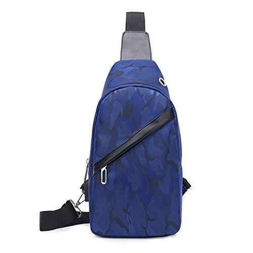 Einfache und vielseitige Mode Tarnung Brusttasche Oxford Tuch wasserdicht verschleißfesten Casual Business Single Shoulder Diagonal Paket blau