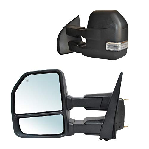 JZSUPER 2020 2019 2018 2017 2016 2015 Towing Mirrors fit for Ford F150 Pickup Truck with Turn Signal Temperature Sensor Puddle Lights Spot Lights Power Heated 22-Pin Plug