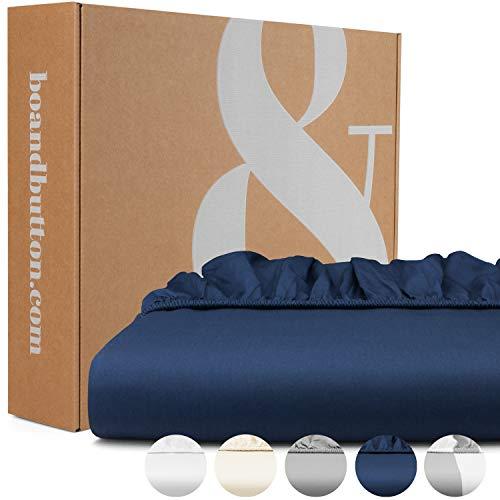 bo&button® Mako Satin Spannbettlaken, echte Luxusqualität, 200x200 cm, bis 30 cm Steghöhe, 100% feinste GOTS Bio Baumwolle, Navy/Dunkelblau/Marineblau
