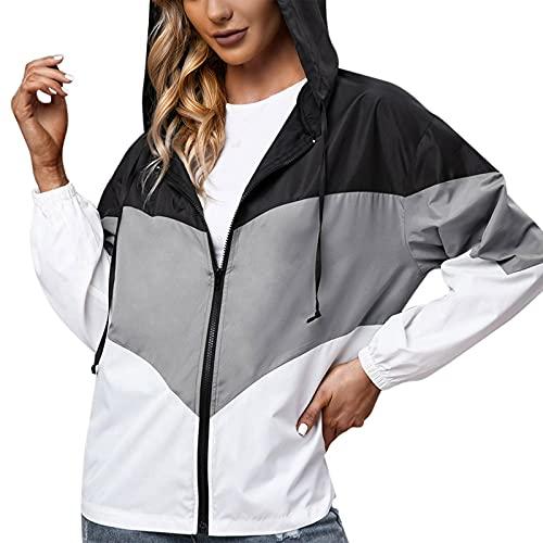 Chubasquero para mujer, impermeable, transpirable, para exteriores, con capucha, cortavientos, parka funcional, chaqueta para mujer, transpirable, impermeable, gris, S