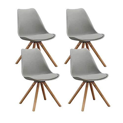 MIFI Tulpe Esszimmer Holzbeine Stuhl Eiffelturm Stuhl 4er Set Retro Design Stühle als Küchenstuhl,...