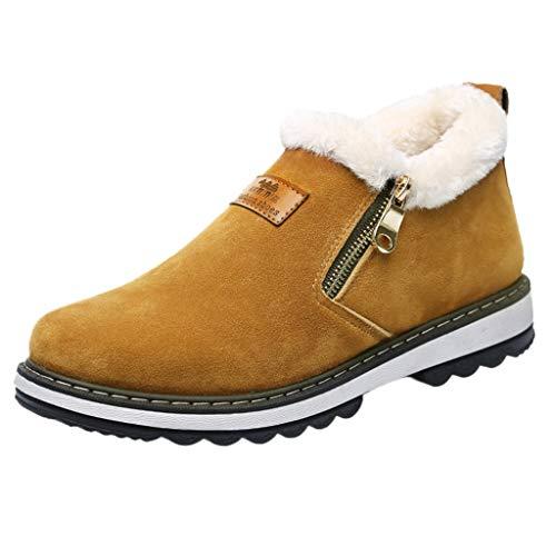 Boots Hiver Hommes, Manadlian Peluche Chaude Chaussures Fermeture éclair Bottes Daim Cuir Baskets Basses