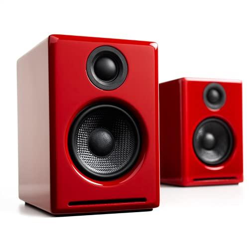 Audioengine A2+ Plus Wireless Speaker Bluetooth | Desktop Monitor Speakers | Home Music System aptX Bluetooth, 60W Powered Bookshelf Stereo Speakers | AUX Audio, USB, RCA Inputs,16-bit DAC (Red)