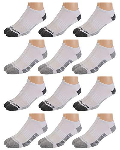 Reebok Men's Comfort Cushion No-Show Low Cut Basic Socks (12 Pack) (White/Grey Shape, Shoe Size: 6-12.5)