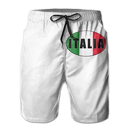DCVFB Italia Italien Italienische Flagge Herren Summer Beach Surf Board Shorts Schnelltrocknende Badehose Lässig Lose Schlaf Kurze Hose