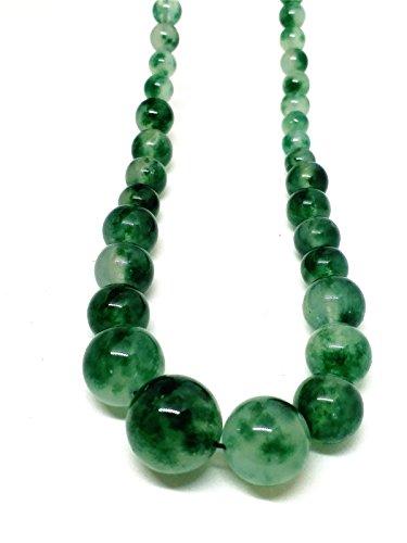 Yigedan - Collar de jade natural con cuentas de jadeita