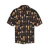INTERESTPRINT Men's Casual Button Down Short Sleeve Wine Bottles Glasses Hawaiian Shirt XXL