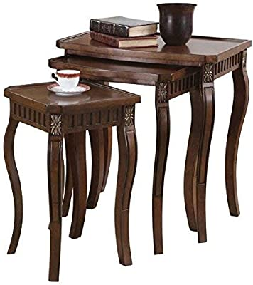 4463a427a131 3-piece Curved Leg Nesting Tables Warm Brown