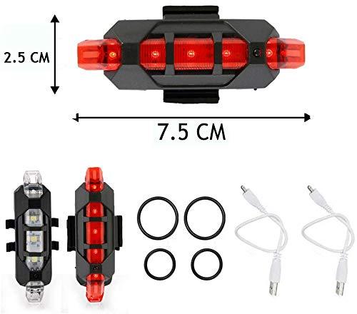 VJK USB wiederaufladbare Fahrradbeleuchtung vorne und hinten, 2 Stück Scooter-Licht, 5 LEDs, 4 Modi, vorne und hinten, Blinklicht, Sicherheitswarnlampe - 7