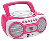 HDi Audio Sport Portable Stereo CD Boombox CD-518 Pink Portable CD Player with AM/FM Radio and Aux Line-in Boombox White/Pink