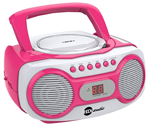 HDi Audio Sport Portable Stereo CD Boombox CD-518 Pink Portable CD Player with AM FM Radio and Aux Line-in Boombox White Pink