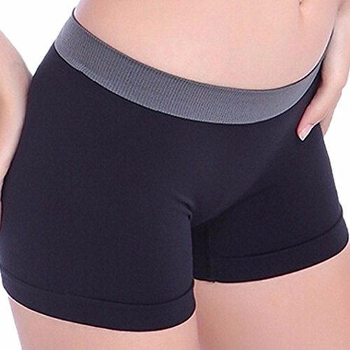 Fanteecy Women's Stretch Yoga Shorts Athletic Boxer Tights Ultra Thin Leggings Pants Elastic Short Panties (Free Size, Black)