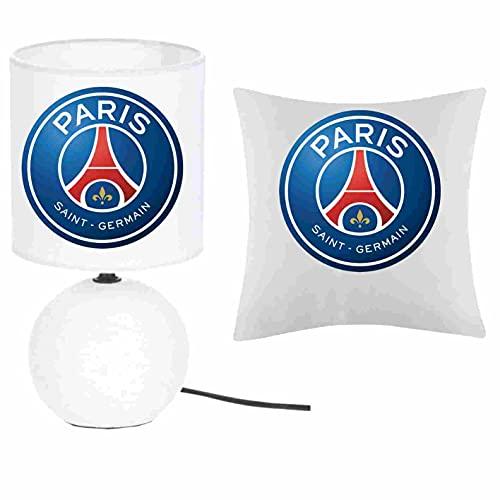 Kokokat – Juego de 1 lámpara de pie de cerámica + 1 funda de cojín del PSG Balon con nombre a elegir 41 x 41 cm. Producto fabricado en Francia.