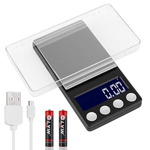 Digitale Küchenwaage, wiederaufladbares USB-Netzteil Taschenwaage 500g/0,01g Elektronischer tragbarer Lebensmittel Gramm Waage Hintergrundbeleuchtete LCD-Anzeige Tara-Funktion (inklusive Batterie