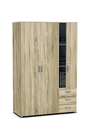 Demeyere Lol3 Schrank 3-Türig, 3 Schubladen, Spanplatte, Sonoma Eiche, 121 x 51.4 x 183.5 cm