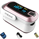 mibest Rose Gold Dual Color OLED Finger Pulse Oximeter - Blood Oxygen Saturation Monitor with Color OLED Screen Display and Included Batteries - O2 Saturation Monitor