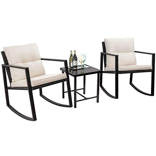 Flamaker 3 Pieces Patio Furniture Set Rocking Wicker Bistro Sets Modern Outdoor Rocking Chair Furniture Sets Clearance Cushioned PE Rattan Chairs Conversation Sets with Coffee Table (Beige)