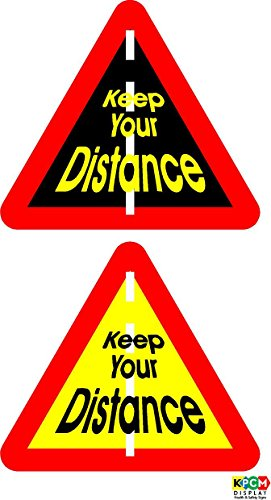 2 Keep Your Distance Zelfklevende caravan stickers - Zelfklevende vinyl 100mm x 100mm