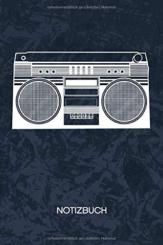 NOTIZBUCH: A5 Kariert - 120 Seiten KARO - Geschenkidee für Hip Hopper Heft Musik Notizheft - 90er Musik Notizblock 90er Hip Hop Motiv - Musikliebhaber Geschenk Ghettoblaster