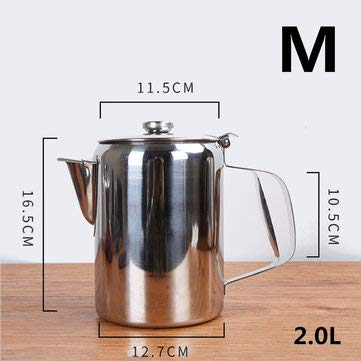 MASUNN S/M/L Zilver RVS Catering Café Theepot Tuit Ontwerp Melk Thee Koffie Water Koken Ketel Met Cover, Middle, 1