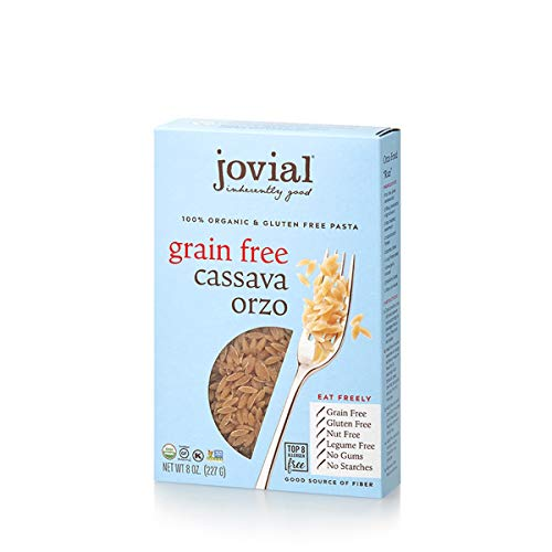 Jovial Grain-Free Cassava Orzo | Cassava Pasta | Paleo Pasta | Grain-Free | Certified Gluten-Free | 100% Organic Pasta | USDA Certified Organic | Non-GMO | High-Fiber | 8 oz (6 pack)