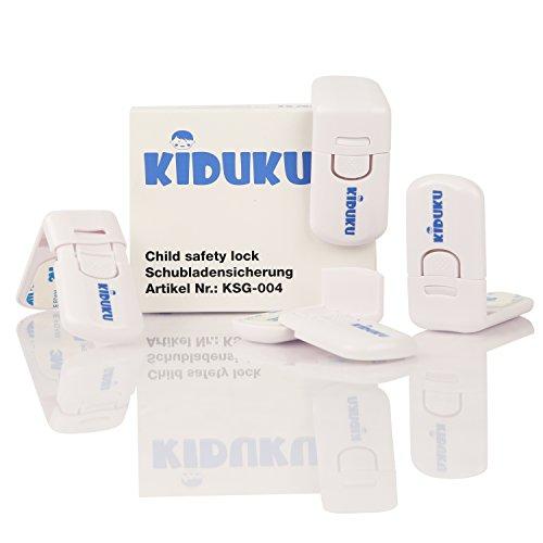 KIDUKU® 4er Set Schubladensicherung Kindersicherung Schubladenverriegelung Schranksicherung, Schrankschloss, Schubladenschloss, für Schubladen