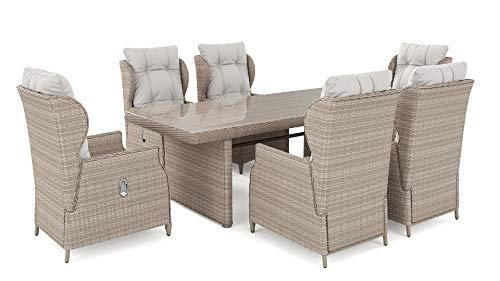 ARTELIA Bariya L Polyrattan Sitzgruppe Lounge Esstisch-Set - Premium Gartenmöbel-Set für Garten, Wintergarten und Balkon, Balkonmöbel, Terrassenmöbel Sandfarben