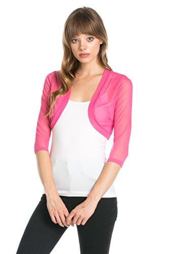 Fashion Secrets Junior`s Sheer Chiffon Bolero Shrug Jacket Cardigan 3/4 Sleeve (Medium, Pink)